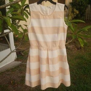 Pleated Gap Tan & Cream Dress